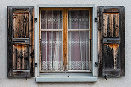 wooden chalet window