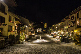 gruyere village at night